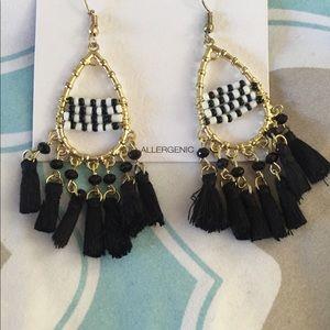 Black and white beaded fringe teardrop earrings